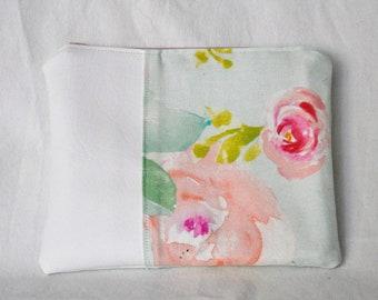 Faux Leather Pastel Flower Zipper Bag | Pouch, Makeup Bag, Mini Bag