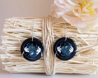 Blue earrings for women - Blue earrings - Women blue jewelry - Blue jewelry - Dangle earrings - Big earrings - Flower earrings