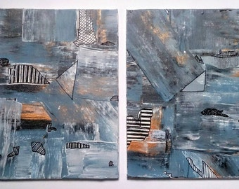 Abstract Acrylic Blue and Gold Canvas Painting Set of 2 Original Metallic Wall Art  5'' x 7'' Small Canvas Art Gift Set