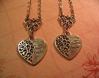 Mother and Daughter Forever Heart Necklaces