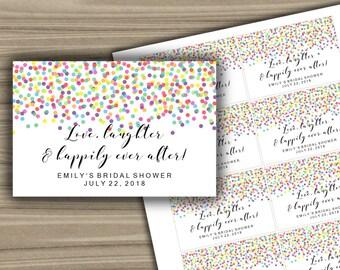 Personalized - Bridal Shower - Mini Champagne Labels - PRINTABLE - Custom - Confetti - Bachelorette Party - L64