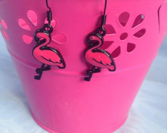 Pink Flamingo Fashion Drop Earrings, Chic Black Dangle Earring, Exotic Fashion Accessory, Mothers Day Jewelry, Valentines Day Jewellery