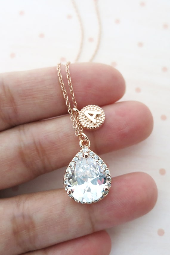 Personalised Rose Gold FILLED Chain Luxe Cubic Zirconia Teardrop Necklace - weddings brides bridesmaid bridal shower gifts, Lelanie