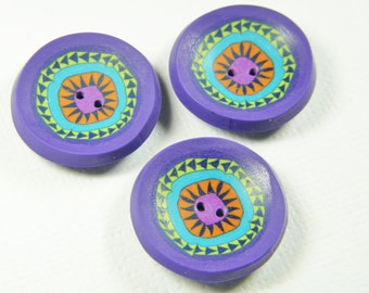Millefiori New York Beauty Quilt Pattern Buttons-set of 3-handcrafted