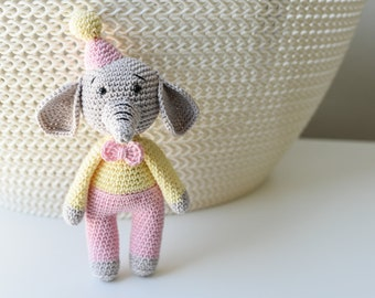 crochet elephant, crochet toy, handmade toy, amigurumi toy, soft stuffed handmade toy, gift for kids,