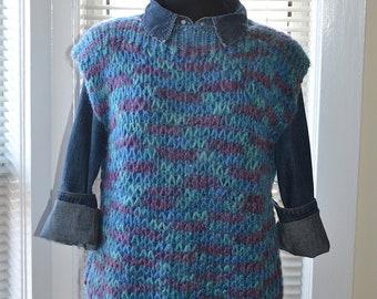 Vintage Knit Sweater Vest - Watercolour Blues - Bateau Neck - Soft Loose Knit - m/l