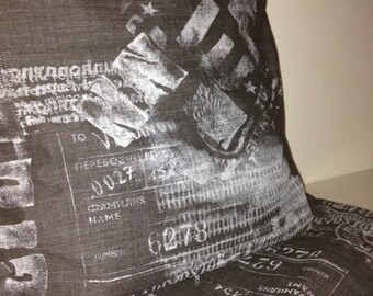 Grey charcoal patterned White Cushion cover