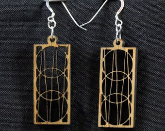 Wood Earrings, Teak with Sterling Silver Hooks