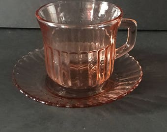 Mexico Teacup and Saucer ~ Pink Cup and Saucer ~ Glass ~ Vintage