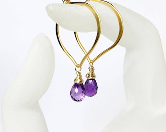 Amethyst Gold Hoop Earrings, Vermeil Lotus Ear wires, Large or Medium