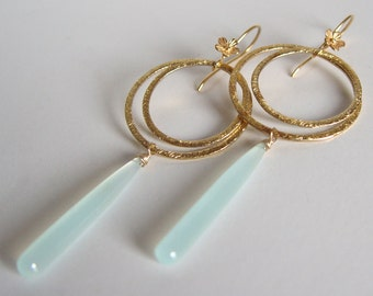 Seafoam Chalcedony and Vermeil Drops