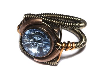 Steampunk Jewelry - Ring - Aquamarine Blue Swarovski Crystal - March