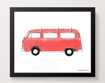 Red VW Van Print, Printable Watercolor, Boys Wall Art, Kids Room Wall Art, Transportation Watercolor Print, INSTANT DOWNLOAD