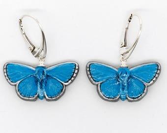 Butterfly Earrings - Adonis Blue Handmade Hand-painted