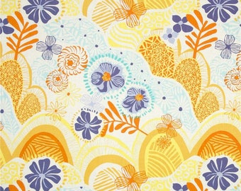 Blue and Yellow Floral Pansy Cotton Fabric, Daydream Hills and Valleys in Yellow, Kate Spain, Moda Fabrics, 1 Yard or More