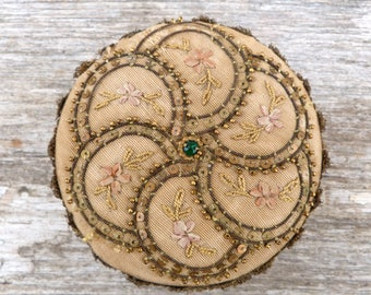 Antique 1890s Victorian French faded colors boudoir box Ribbonwork Embroidered silk & Gold bullion lace trims