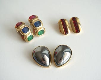 3 Vintage Earrings clip-on, golden metal and faux precious stones, Italian bijoux 1980s