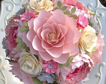 Paper Flower Bouquet - Wedding Bouquet - Shabby Chic - Pink and Gray - Made to Order - Any Color Combo