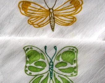 Two (2) Liquid Painted Butterflies Flour Sack Dishtowel Set
