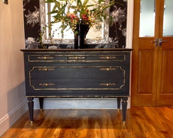 Sold  Sold Sold Annie Sloan Chalk Painted Vintage French Art Deco Shabby Chic Sideboard Hall Chest Drawers