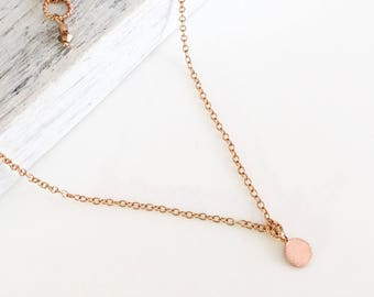 Disc Layering Necklace - Minimalist Necklace Rose Gold - Thin Necklace - Delicate Jewelry - Barely There Chain Gold Choker Layering Necklace