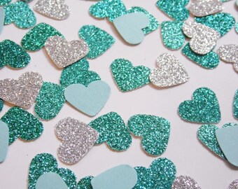 Silver and Turquoise Glitter Heart Confetti, Wedding Reception Decoration, Table Scatter, Paper Confetti, Bridal Shower Decor