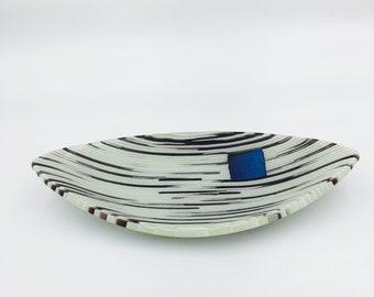 Elegant stripcut, fused glass bowl