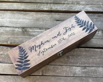 Fern Wooden Wine Box Holder, Wine box ceremony, personalized wine box, first fight box, wedding wine box ceremony, anniversary wine box gift