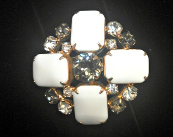 Vintage Brooch, Lucite and Rhinestone, White Lucite Cabochons, Smoke and Clear Rhinestones, Art Deco Inspired, Mid Century, Circa 1950s