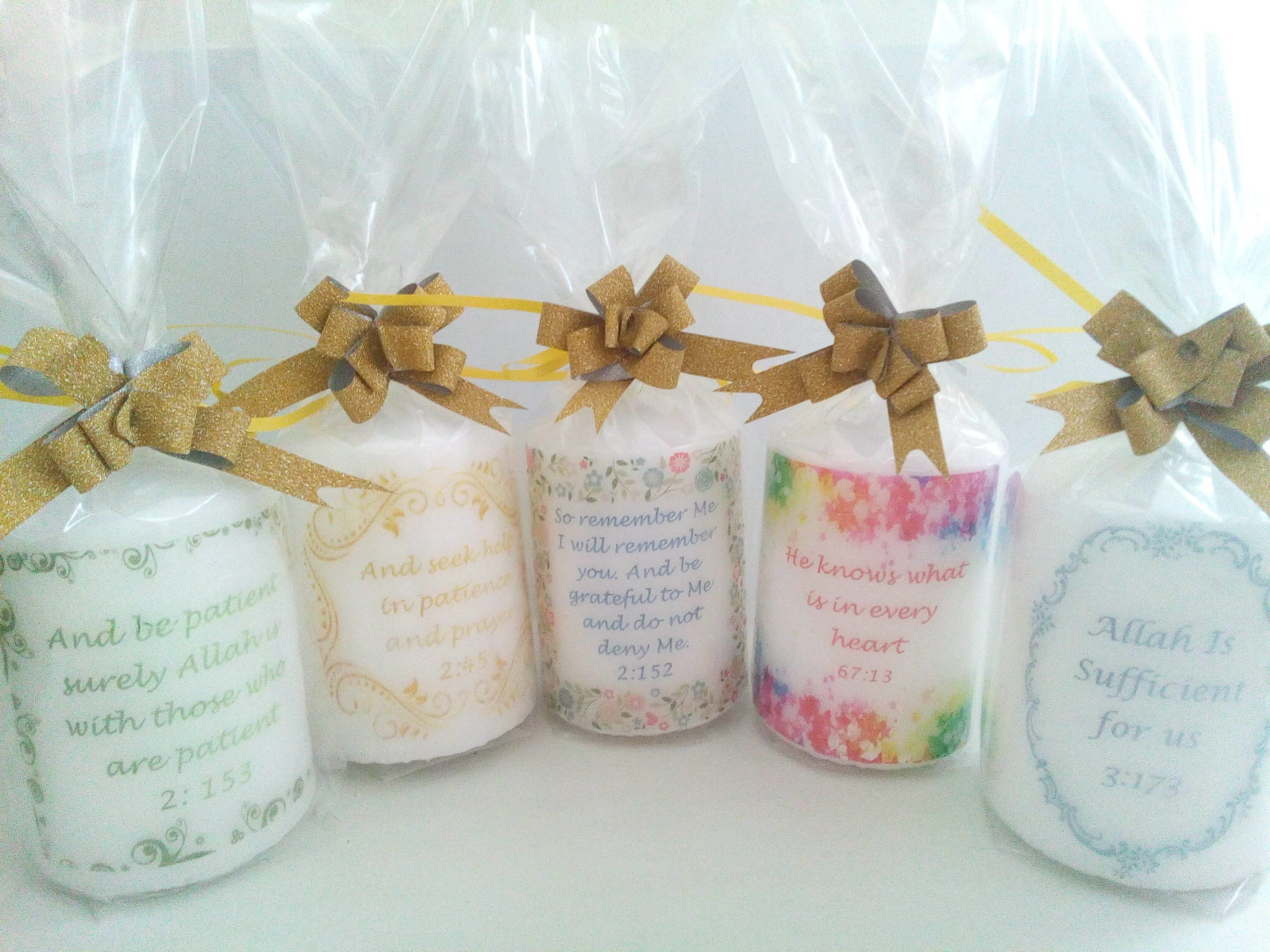 Candle set 2 candles Quran quote / ayat / ayah for