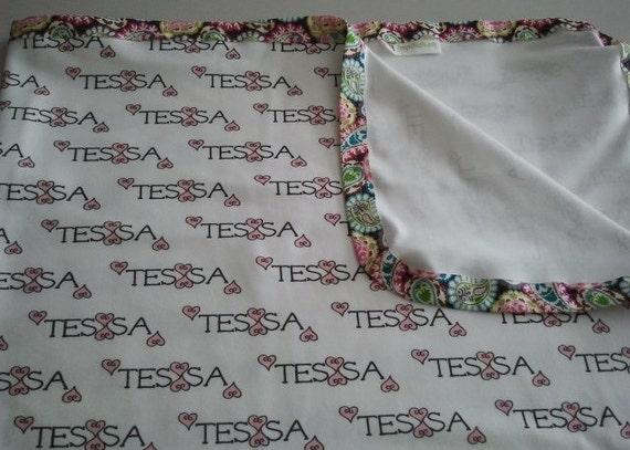 Personalized Blanket 2 of Hearts Pink Organic Cotton Custom Swaddle Baby, Toddler / Tween / Teen Gift, Nursery Decor, Birthday Gift