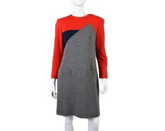 Vintage 70s Designer Helga Color Block Dress S / M