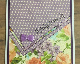 Greeting card, handmade card, thank you card, floral design, purple