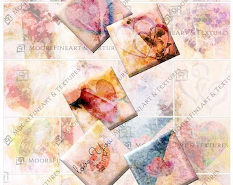 DIGITAL COLLAGE INCHIES  Valentine Hearts, abstract images, 2 inch collage sheets, instant download