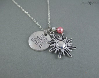 Tangled Live Your Dream Silver Sun Charm Necklace - Rapunzel