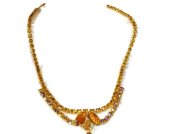 Vintage Necklace JULIANA NECKLACE Gold Leaf Yellow And Ab Rhinestones Necklace SPECTACULAR Show Stopper!!!