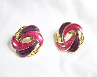 80's Unique Metallic Pink Purple & Gold Retro Stud / Post Earrings