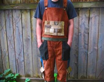 Custom Patchwork Overall Shorts~ Cargo Cords, Shortalls