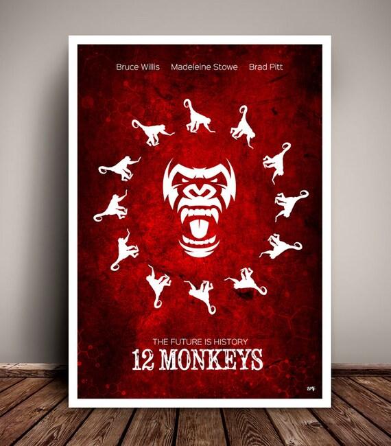 12 Monkeys // Bruce Willis // Brad Pitt //  Terry Gilliam // Minimalist Movie Poster // Unique Art Print