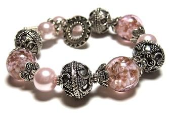 Sterling Silver Bracelet, Pink Bracelet, Beaded Bracelet, Pink Jewelry, Pink Jewellery, Womens Bracelet, Unique Bracelet, CASHMERE