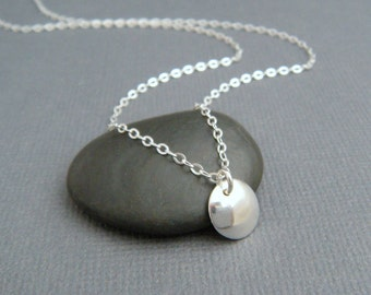"""tiny silver necklace. small domed circle. sterling dome disc. simple everyday jewelry. dainty. delicate. dot. sweet gift for her. 3/8"""""""