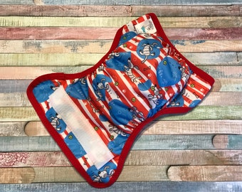Puppy Stripe Polyester PUL Cloth Diaper Cover With Aplix Hook & Loop Or Snaps You Pick Size XS/Newborn, Small, Medium, Large, OS