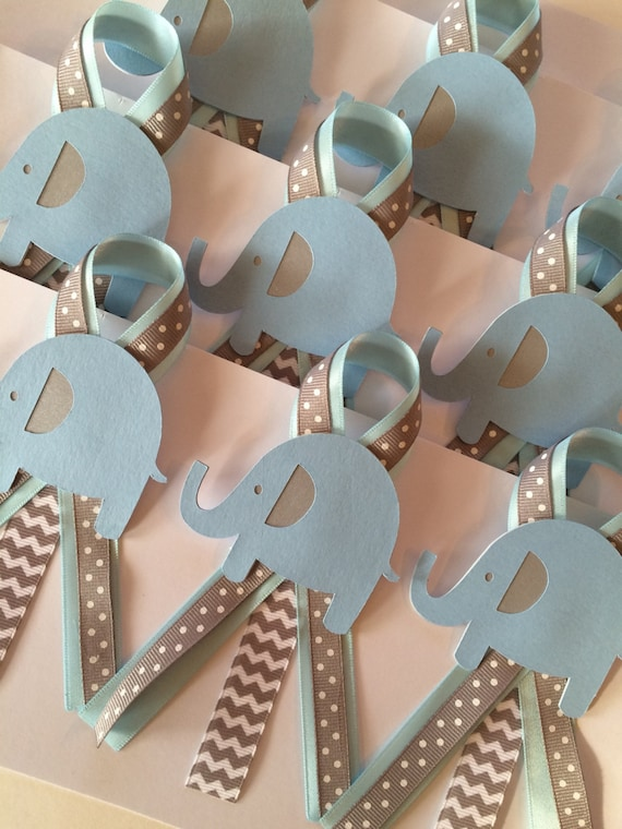 Elephant Baby Shower Guests Pins Set Of 12/ Blue And Grey
