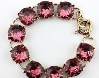 Antique pink Crystal charm bracelet
