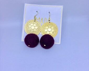 Tribal Gold and Garnet PomPom Earrings