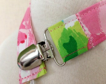 hotty pink first impression pacifier clip/toy strap ~ universal fit ~ lilly pulitzer