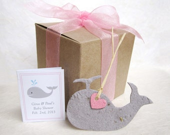 30 Whale Baby Shower Favors Kit - Plantable Pots - Plantable Flower Seed Paper