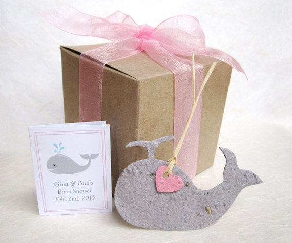 Baby Shower Favors Seeds ~ Whale baby shower favors kit plantable pots plantable