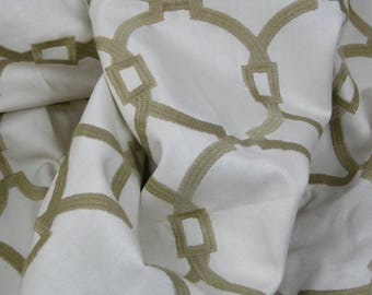 The Sommers Collection, Trend/ Fabricut Fabric. Vern Yip Collection. Geometric Embroidery. Tan and Cream. 100% Cotton 03496-VY