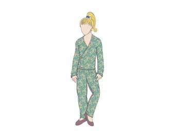 Kids Wrap Style Pyjamas Sewing Pattern - Ages 2-6 - Download PDF